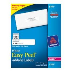 Avery® Easy Peel® White Address Labels, 1 x 4, 2000 count