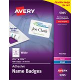 Avery® Flexible Adhesive Name Badge Labels, White Rectangle