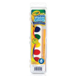 Prang® Washable Watercolors, 8-color set with brush
