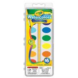 Crayola® Washable Watercolors, 16 semi-moist oval pans & brush