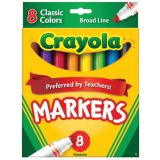 Crayola® Watercolor Markers, Broad-Line, 8 Classic Colors