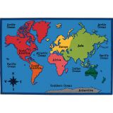 KID$ Value Rugs™, World Map, 4' x 6'