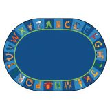 A to Z Animals! Rug, 6'9 x 9'5 Oval, Primary Colors