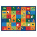 Learning Blocks Carpet, 8'4 x 11'8 Rectangle, Primary Colors