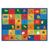 Learning Blocks Carpet, 4'5 x 5'10 Rectangle, Primary Colors