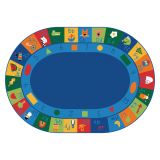 Learning Blocks Carpet, 8'3 x 11'8 Oval, Primary Colors