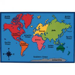 Kid$ Value Rugs®, World Map, 6' x 9'