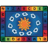 Sunny Day Learn and Play Carpet, 4'5 x 5'10 Oval, Primary Colors