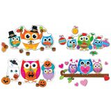 Celebrate with Colorful Owls Bulletin Board Set