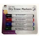 Dry Erase Markers, 4-color set, Chisel Tip