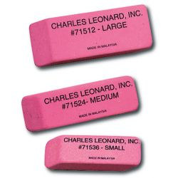 Synthetic Wedge Pink Erasers, Small, Box of 36