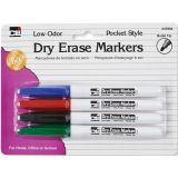 Dry Erase Markers, 4-color set, Bullet Tip