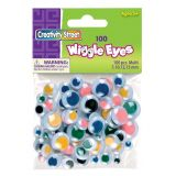 Wiggle Eyes, Multicolor, 100 pieces in assorted sizes