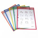 C-Line® Reusable Dry Erase Pockets, 9 x 12, Primary Colors, Pack of 5
