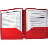 C-Line® Two-Pocket Poly Portfolios with Three-Hole Punch, Red, Box of 25