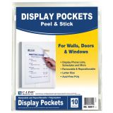 C-Line® Sign Holders, Peel & Stick Backing for Walls, Doors and Windows, Pack of 2