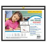 C-Line® Reusable Dry Erase Pockets, 9 x 12 Landscape, Black