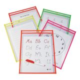C-Line® Reusable Dry Erase Pockets, 9 x 12, Assorted Neon Colors, Box of 25