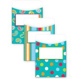 Jumbo Library Pockets, Dots on Turquoise