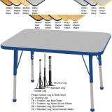 Adjustable T-Mold Activity Table, 24 x 36 Rectangle