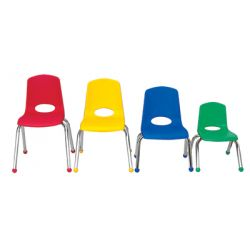 Stackable School Chair w/Chrome Legs, 12 seat height, Blue, Carton of 6