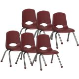 Stackable School Chair w/Chrome Legs, 12 seat height, Burgundy, Carton of 6
