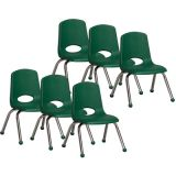 Stackable School Chair w/Chrome Legs, 12 seat height, Green, Carton of 6