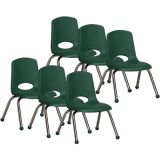Stackable School Chair w/Chrome Legs, 12 seat height, Hunter Green, Carton of 6