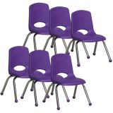 Stackable School Chair w/Chrome Legs, 12 seat height, Purple, Carton of 6