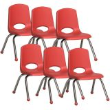 Stackable School Chair w/Chrome Legs, 12 seat height, Red, Carton of 6