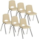 Stackable School Chair w/Chrome Legs, 12 seat height, Sand, Carton of 6