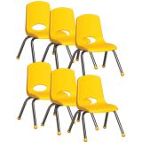 Stackable School Chair w/Chrome Legs, 12 seat height, Yellow, Carton of 6