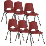 Stackable School Chair w/Chrome Legs, 14 seat height, Burgundy, Carton of 6