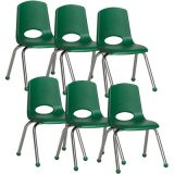 Stackable School Chair w/Chrome Legs, 14 seat height, Green, Carton of 6