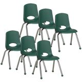 Stackable School Chair w/Chrome Legs, 14 seat height, Hunter Green, Carton of 6