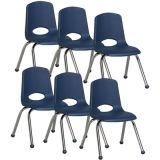 Stackable School Chair w/Chrome Legs, 14 seat height, Navy, Carton of 6