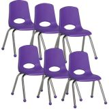 Stackable School Chair w/Chrome Legs, 14 seat height, Purple, Carton of 6