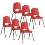 Stackable School Chair w/Chrome Legs, 14 seat height, Red, Carton of 6