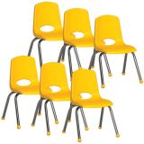 Stackable School Chair w/Chrome Legs, 14 seat height, Yellow, Carton of 6