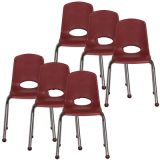 Stackable School Chair w/Chrome Legs, 16 seat height, Burgundy, Carton of 6