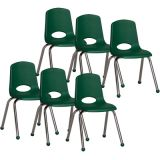 Stackable School Chair w/Chrome Legs, 16 seat height, Green, Carton of 6