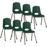 Stackable School Chair w/Chrome Legs, 16 seat height, Hunter Green, Carton of 6