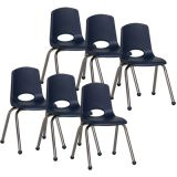 Stackable School Chair w/Chrome Legs, 16 seat height, Navy, Ball Glides, Carton of 6