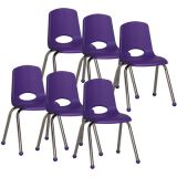 Stackable School Chair w/Chrome Legs, 16 seat height, Purple, Carton of 6
