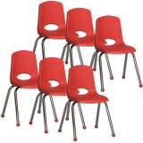 Stackable School Chair w/Chrome Legs, 16 seat height, Red, Carton of 6