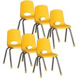 Stackable School Chair w/Chrome Legs, 16 seat height, Yellow, Ball Glides, Carton of 6