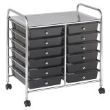 Mobile Organizer, 12 Drawer, Smoke Gray