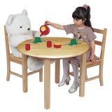 Deluxe Hardwood Table, 30 Round with 22 legs with two 12 chairs