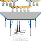 Adjustable T-Mold Activity Table, 30 x 60 Trapezoid