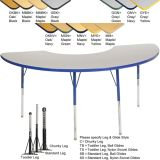 Adjustable T-Mold Activity Table, 36 x 72 Half Moon
